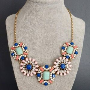 Bead and clear glass statement necklace